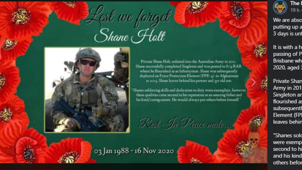 ¬Memorial post for Private Shane Holt posted by The Pineapple Express on November 20, 2020, with family's permission