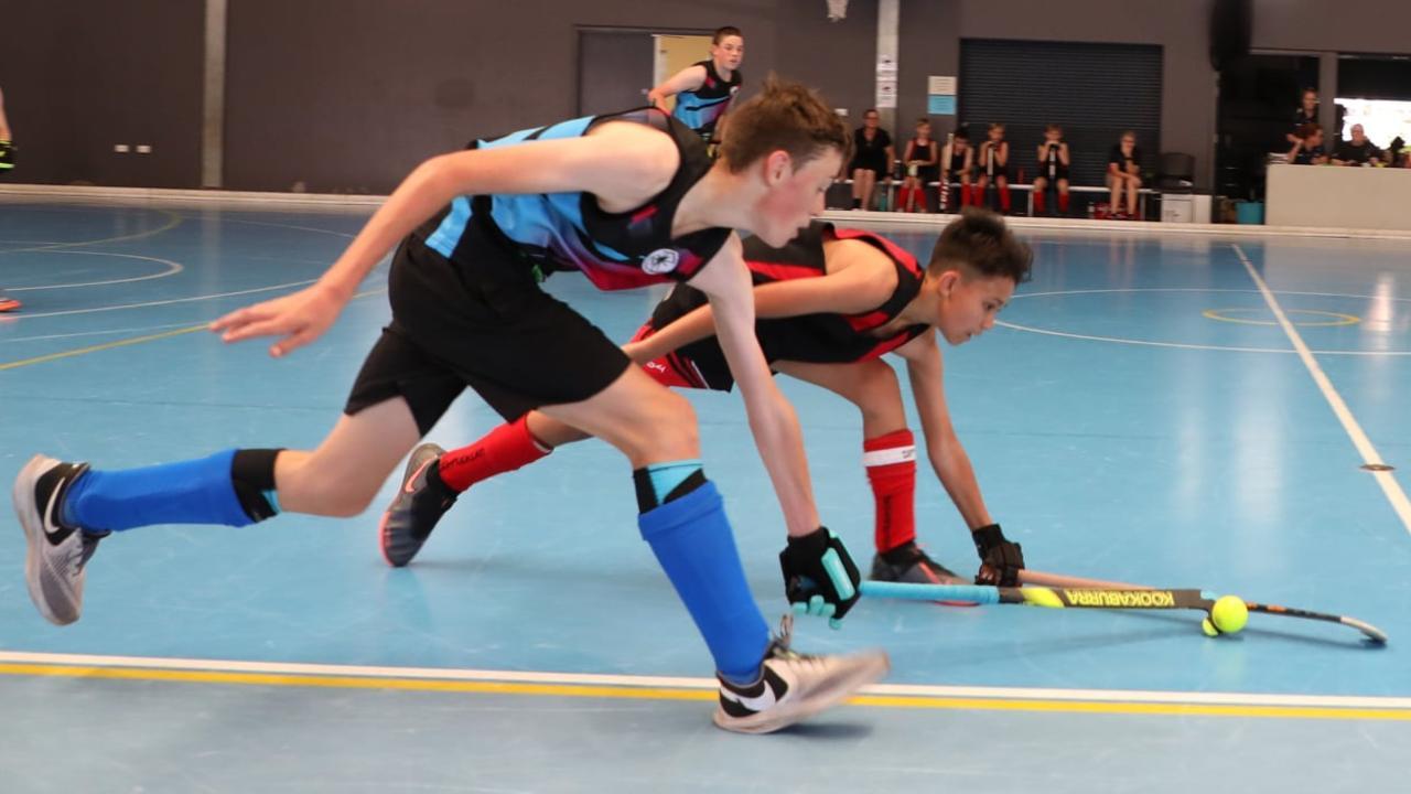 Action from the U13 Boys Indoor Hockey State Championships held in Mackay. Photo: Indoor Hockey Mackay