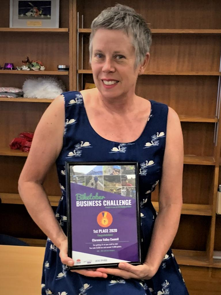 Sammy Lovejoy was the office champion for Clarence Valley Council who won the NSW Government and Public Services (200-499) category of the 2020 Biketober Business Challenge.