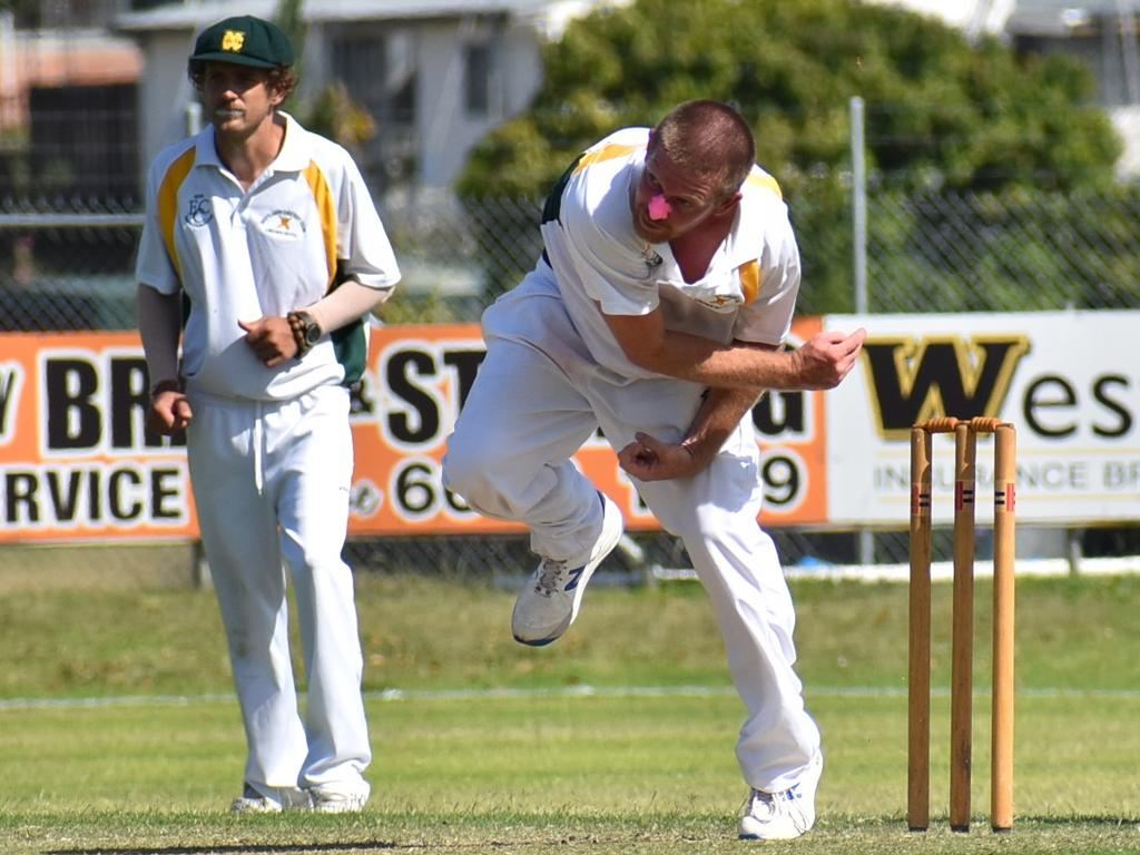 Nathan Blanch took 4 for 30 off 22 overs in a typically miserly spell for GDSC Easts/Westlawn Crown Hotel against South Services at McKittrick Park on Saturday, 21st November, 2020. Photo Jenna Thompson / The Daily Examiner