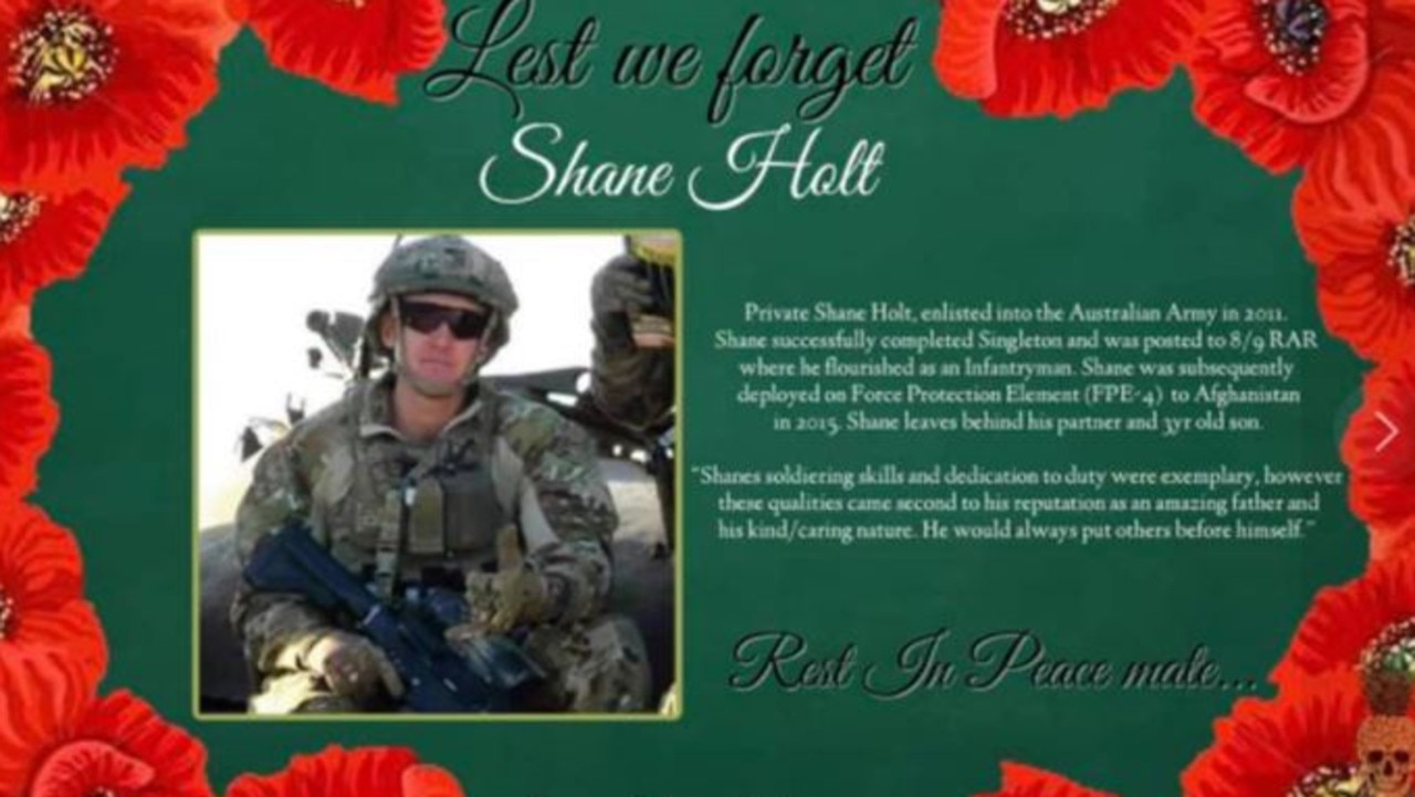 A memorial post for Private Shane Holt shared by The Pineapple Express on November 20 with his family's permission