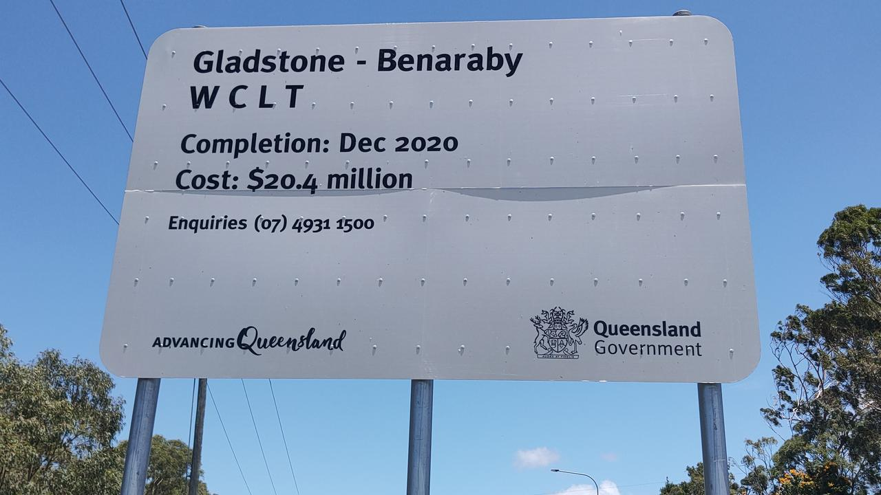 The sign at Toolooa at the start of the Gladstone Benaraby roadworks states the project would cost $20.4 million but the Department of Transport and Main Roads said the project had cost $24.4 million. Picture: Rodney Stevens