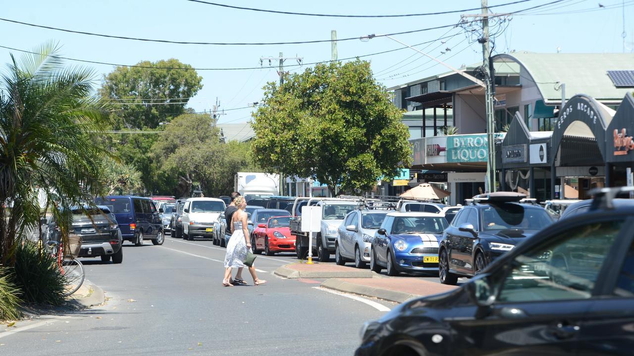 Heavy traffic in Byron Bay on Monday, November 23, 2020. Picture: Liana Boss
