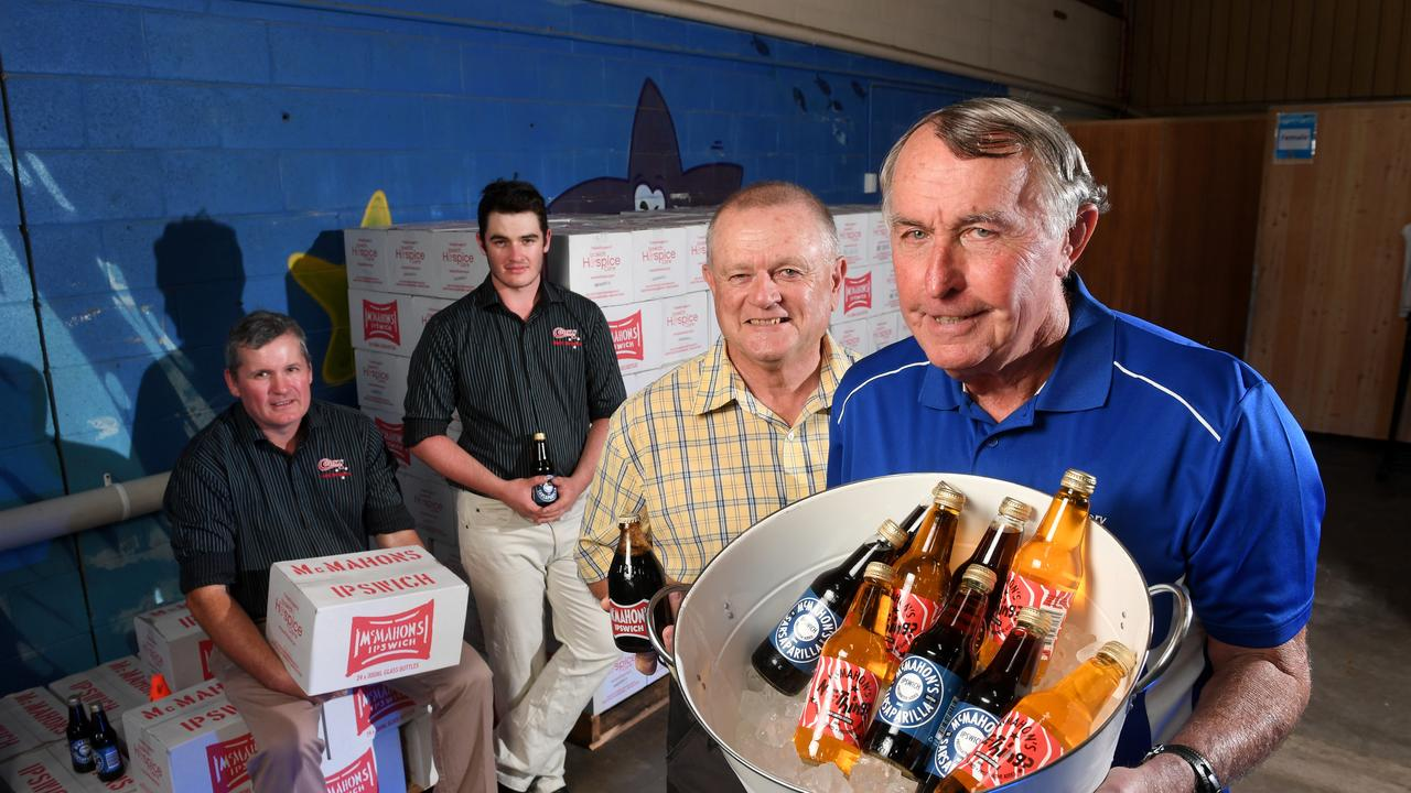 Brendan and Benjamin Cavanagh from Cooks Soft Drinks, former McMahon's syrup maker Zane Sinnamon and Peter McMahon. Cartons of the soft drink are being sold to raise money for Ipswich Hospice again in 2020.