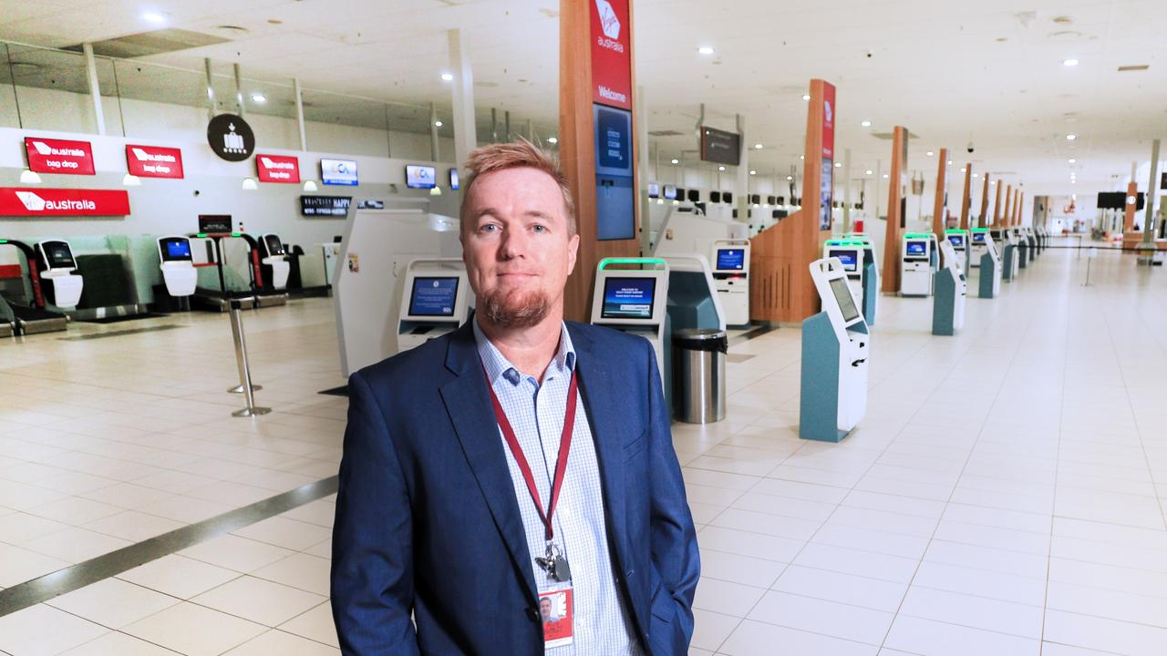 Queensland Aircorp Limited CEO Chris Mills in an empty Gold Coast Airport. Flights will begin pouring back in next wee. Photo: Scott Powick Newscorp