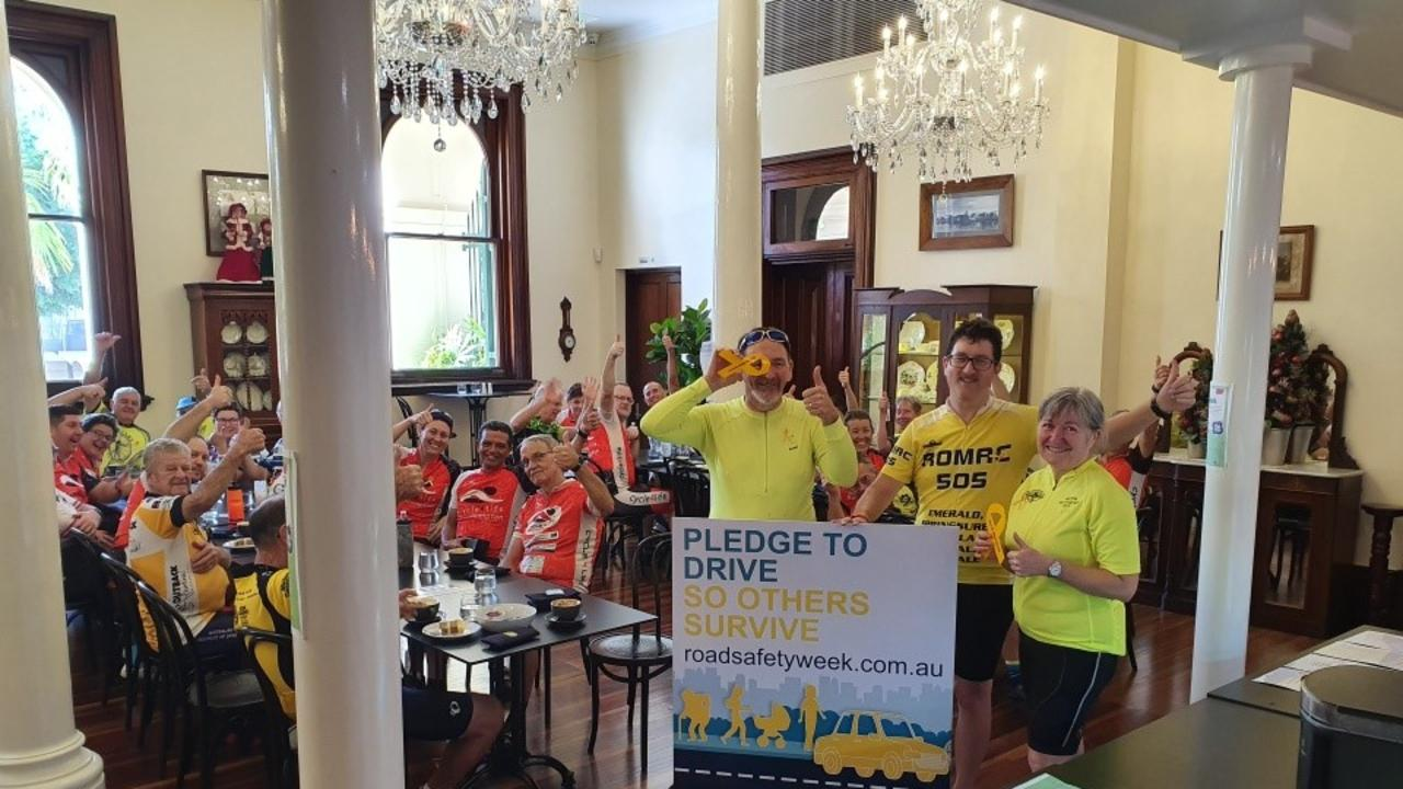 Riders in the Riverston Tea Rooms.
