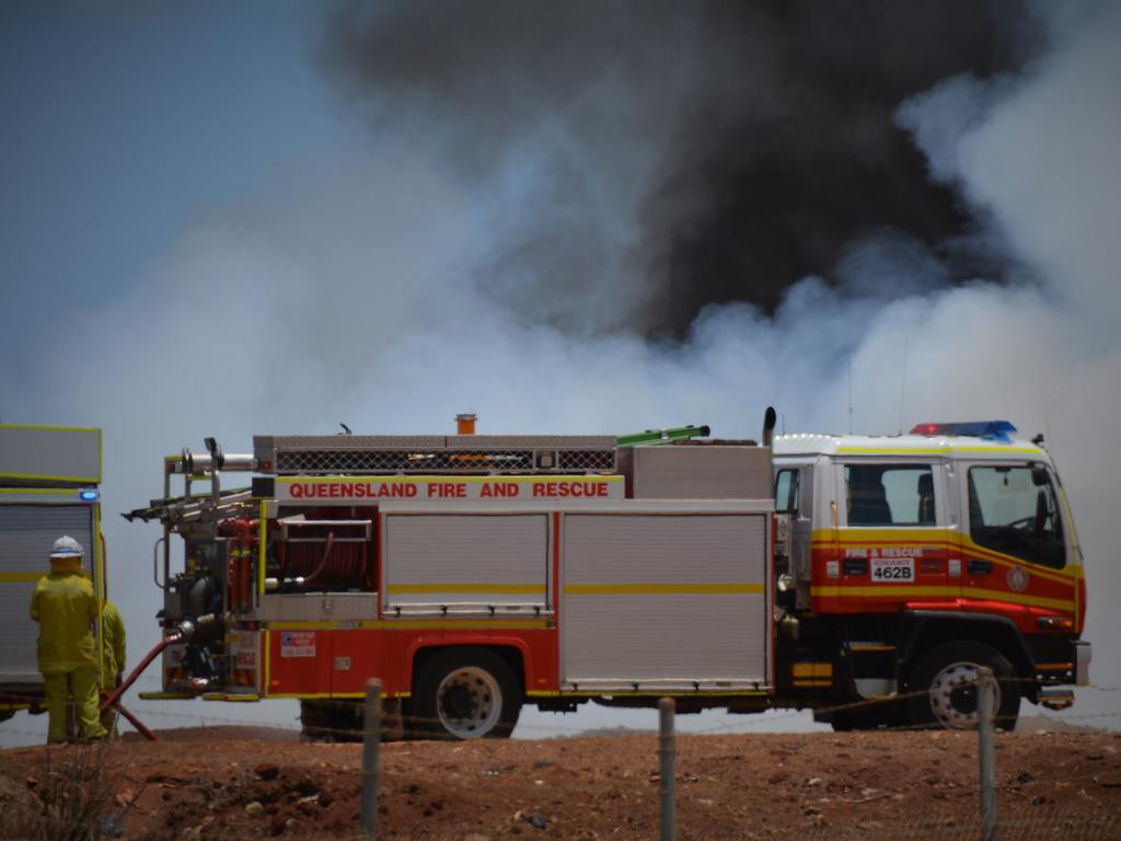 QFES firey's are on scene at a particulary smoky grass fire at Boondooma. File Photo.