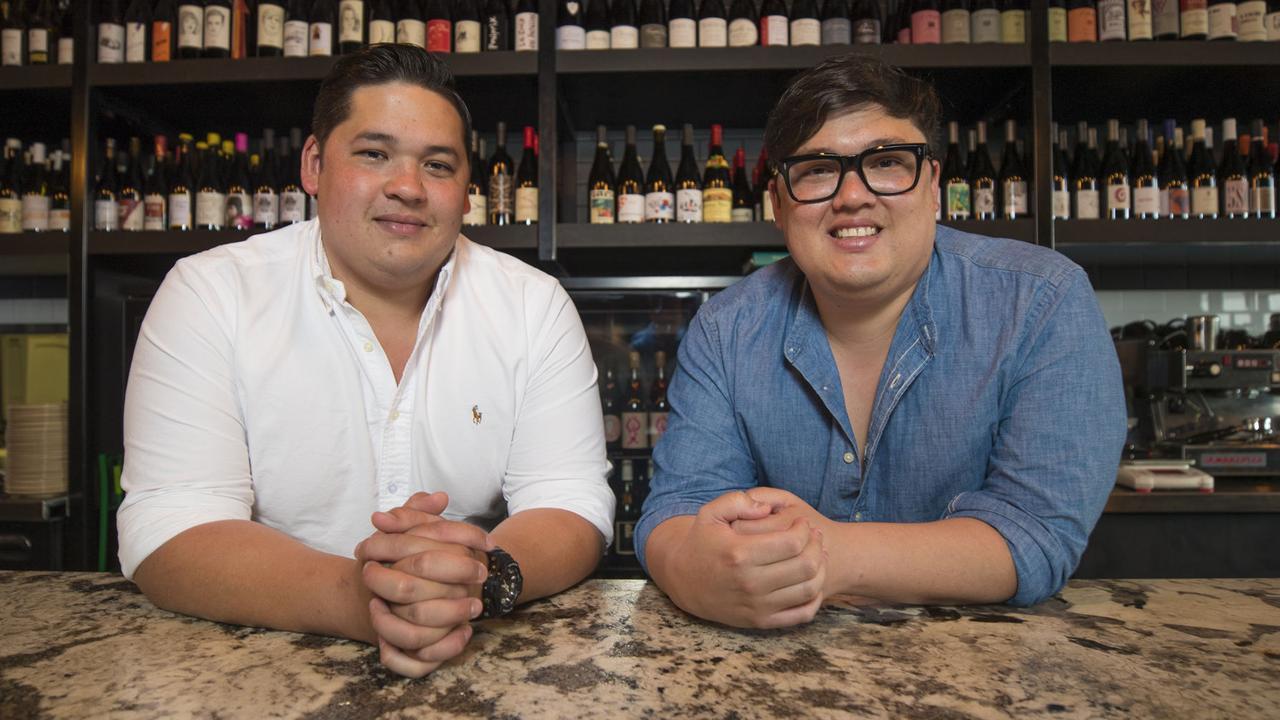 Jordan and Cameron Votan inside their Snackman restaurant. Picture: Peter Wallis