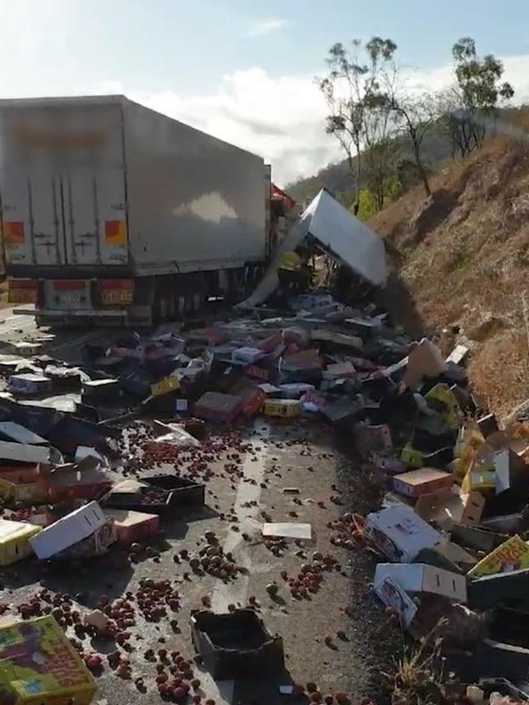 Fatal truck crash on the Bruce Highway at Stuart, November 24, 2020.