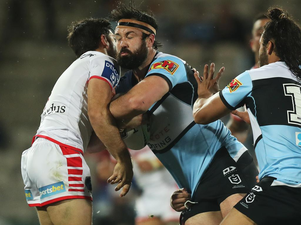 The Sharks and Dragons face off in a round 1 derby NRL match at Jubilee Oval, Kogarah. Picture: Brett Costello