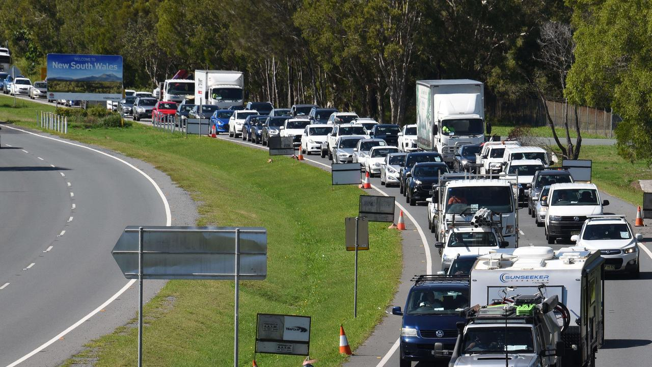 GOLD COAST, AUSTRALIA - NewsWire Photos NOVEMBER 2, 2020: Police check cars at the Queensland border with NSW at Stuart Street in Coolangatta one day before the border opens to NSW but not Sydney. Picture: NCA NewsWire / Steve Holland