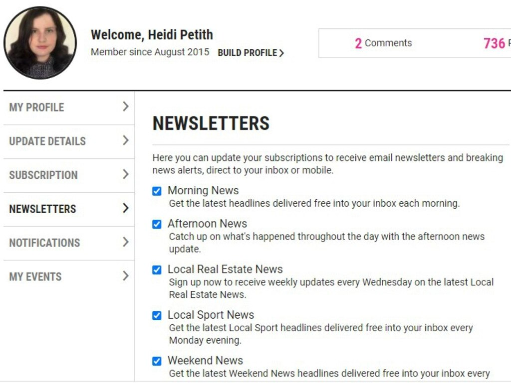 Where you can opt-in to newsletters and alerts in the 'My Profile' section of the Daily Mercury website.