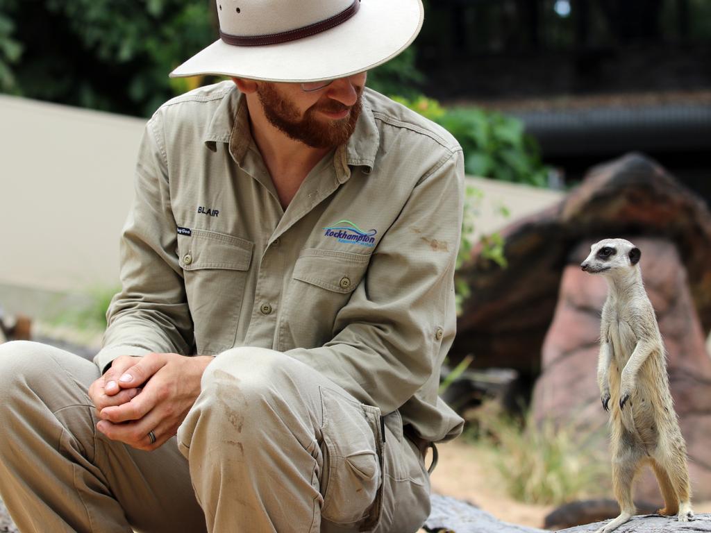 Zoo keeper Blair Chapman with Sabari