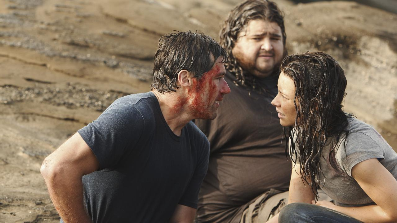 Matthew Fox, left, Jorge Garcia and Evangeline Lilly in Lost. Picture: AP/ABC/Mario Perez