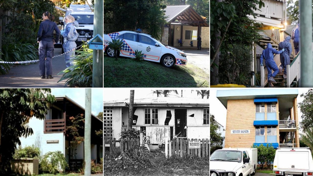 Killings occurred at Yandina Coolum Rd, Coolum Beach, Main Creek Rd, Tanawha, Horseshoe Bend, Buderim, Kareela Ave, Noosa Heads, Sixth Ave, Maroochydore and at the Silver Sands apartments.
