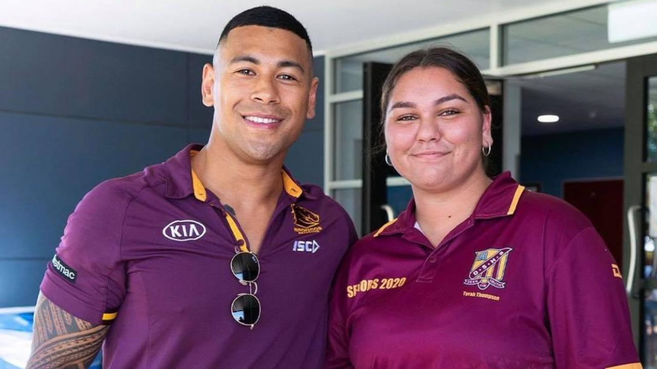 WITH THE BRONCOS: Dalby State High School student Tyrah Thompson with Jamayne Isaako. Picture: Brisbane Broncos