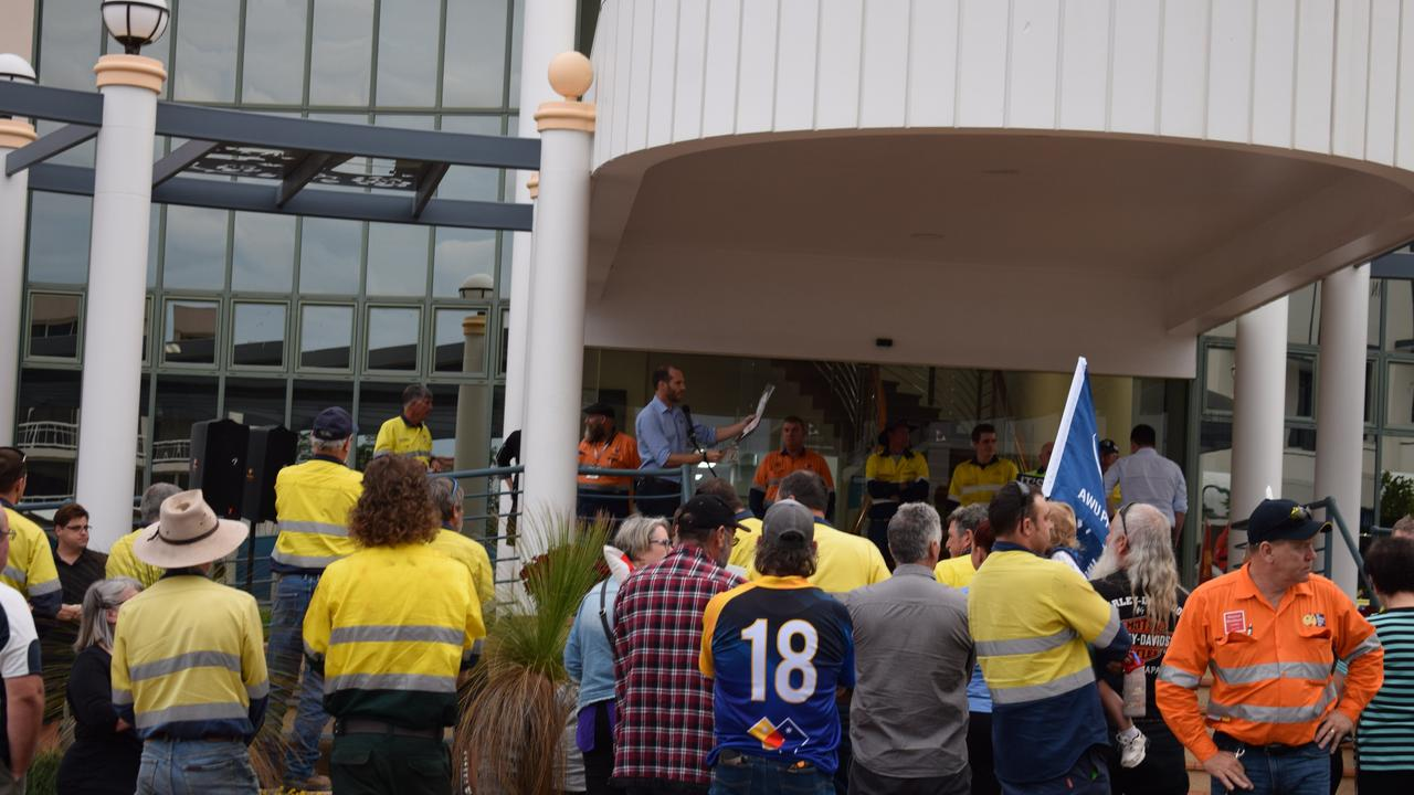 Council workers met outside the Gladstone Regional Council chambers for a combined unions meeting.