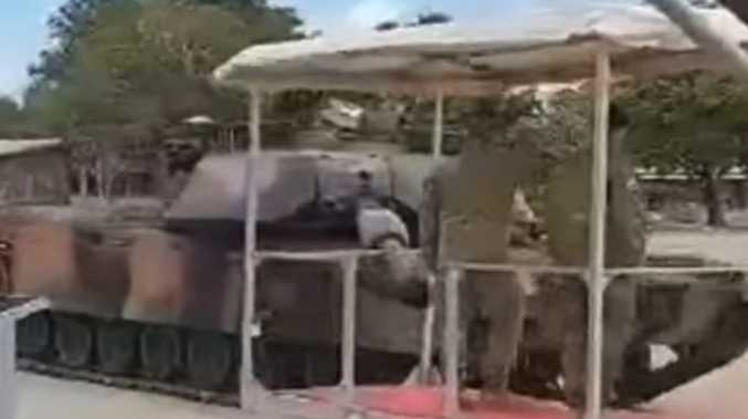 Epic fail as army tank almost takes out major general