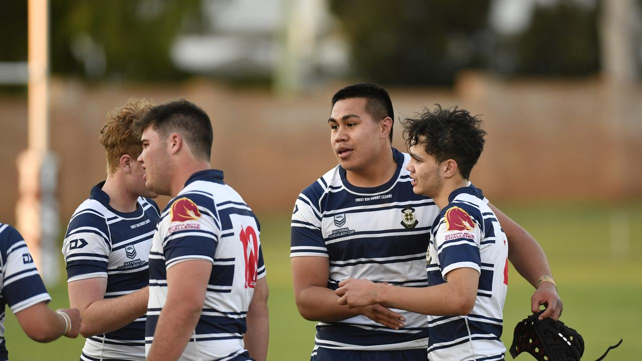 St Marys College players Xavier Va'a (centre) and Angus Wright (right) celebrate the win against Ipswich SHS in Langer Cup schoolboys rugby league at Toowoomba Sports Ground, Wednesday, August 5, 2020. Picture: Kevin Farmer
