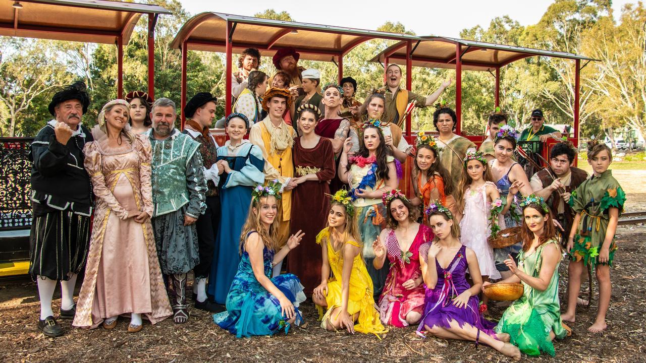 A MIDSUMMER NIGHT'S DREAM: Cast from the Playhouse Theatre Bundaberg's upcoming Shakespeare performance bringing joy in the Botanic Gardens. Photo: Kyle Schneider.