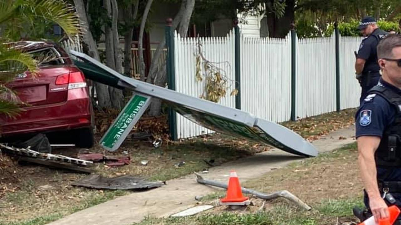 A man has been taken into custody after allegedly crashing a stolen car into Legacy House Ipswich