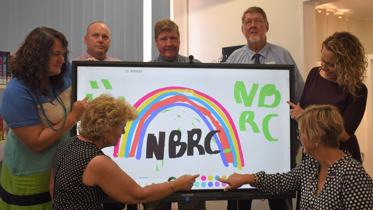 The panels can be found now in each of the libraries across the region in the towns of Biggenden, Eidsvold, Gayndah, Monto, Mundubbera and Mt Perry. Photo: Kristen Camp