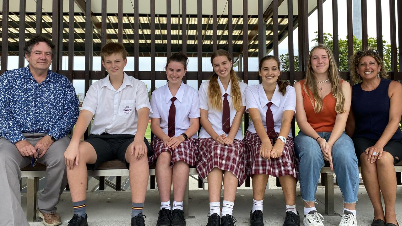 Cr Brian Stockwell with Noosa Youth Advocacy Group members Jacob Scrase, Olivia Hoger, Jemima Harman, Jolie Mau and Zoe Gralton as well as Dalia Mikhail.