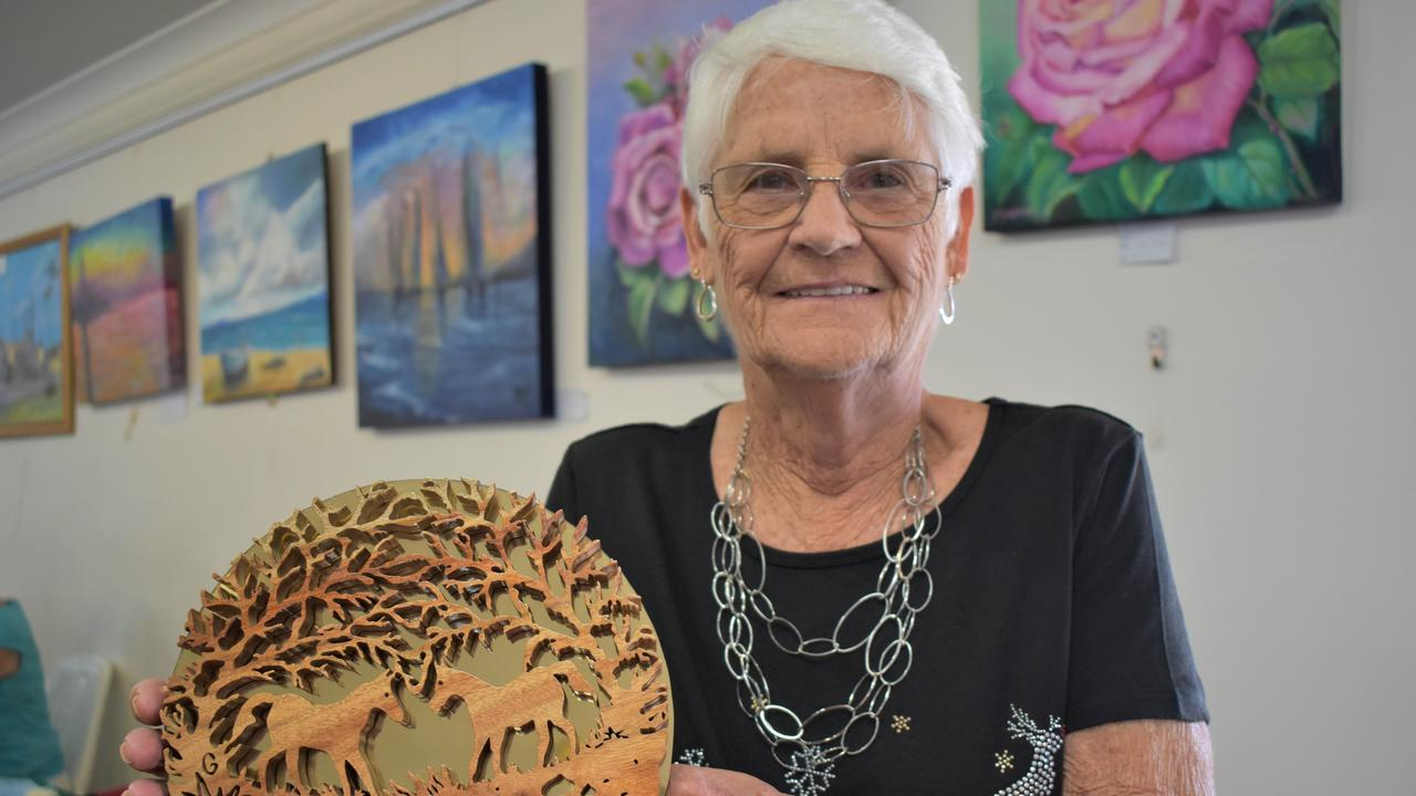 Mackay artist Rose Ware with her favourite scroll saw piece at the Christmas Arts and Crafts Fair held at the Mackay Art Society, Beaconsfield, Sunday November 22, 2020. Picture: Heidi Petith