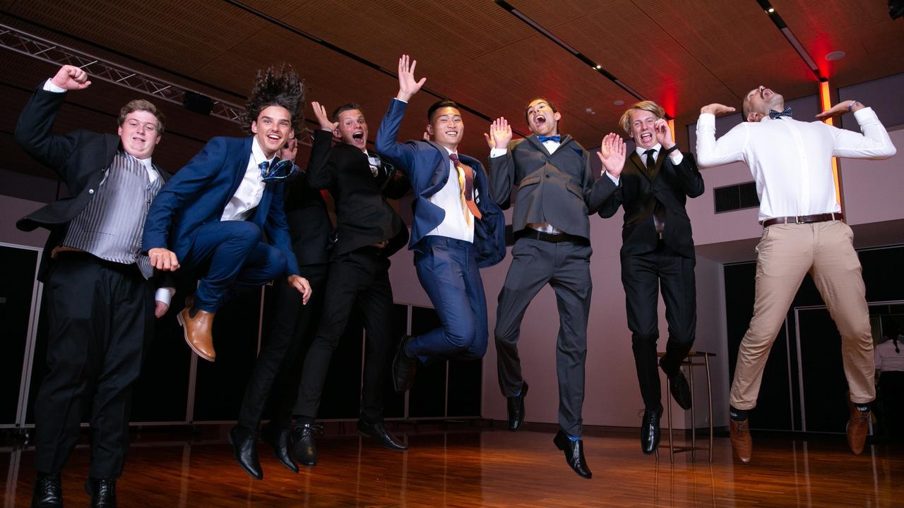 Luke Barnes, Jesse De Jong, Jack Heinrich, Tim Pesu, Johan Kruger, Joshua Williams and Eddie Howell at the Suncoast Christian College Year 12 formal. Photo: Ben Lockens/Just Photography