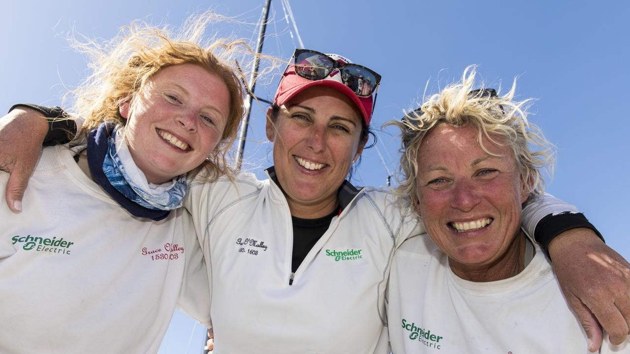 Wendy Tuck, right, with fellow Sydney to Hobart sailors Emma May and Zoe Taylor.