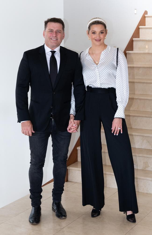 Karl Stefanovic revealed his wife Jasmine drunk dialled the Premier. Picture: Esteban La Tessa