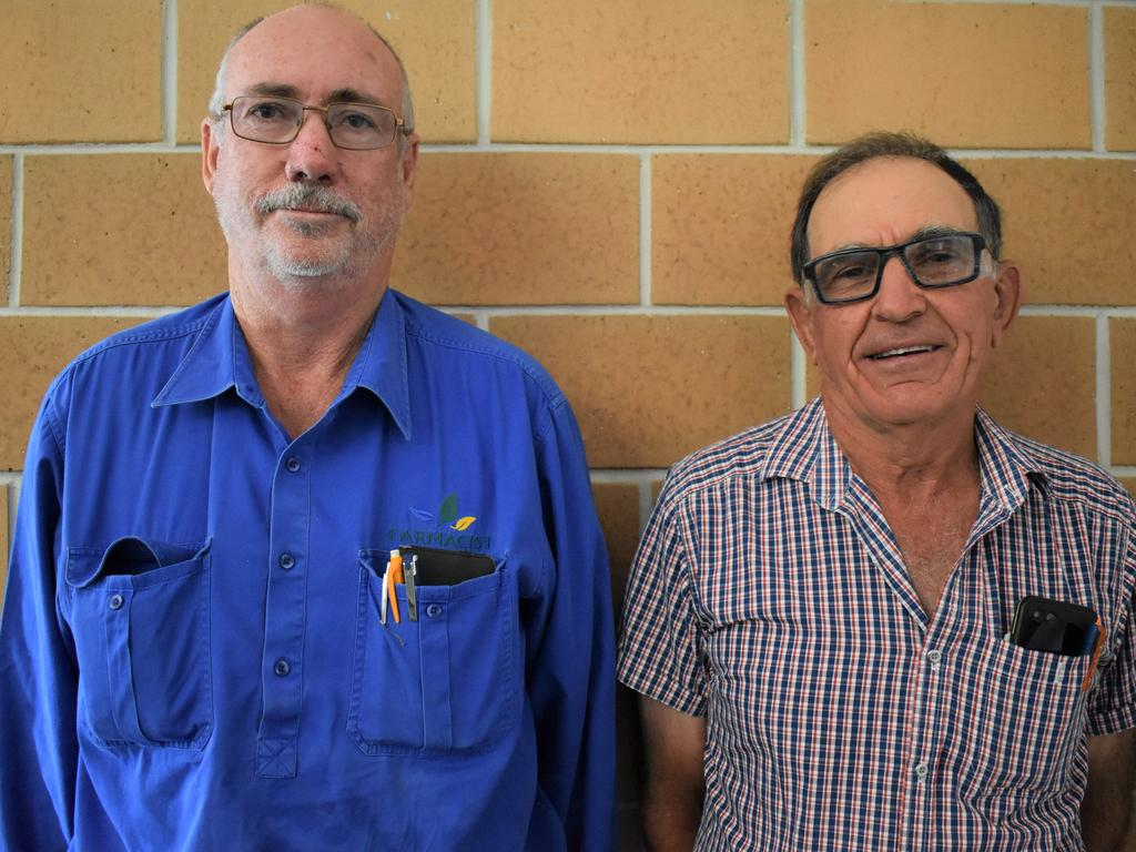 Farmacist co-owner Tony Crowley who works with Mackay cane farmer Tony Bugeja (right) on improving soil nutrition, at the launch of AJK HumiSoil at Windmill Motel and Events Centre, Tuesday November 24, 2020. Picture: Heidi Petith