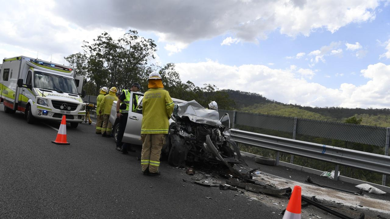 Emergency services on the scene of the Toowoomba Bypass crash.