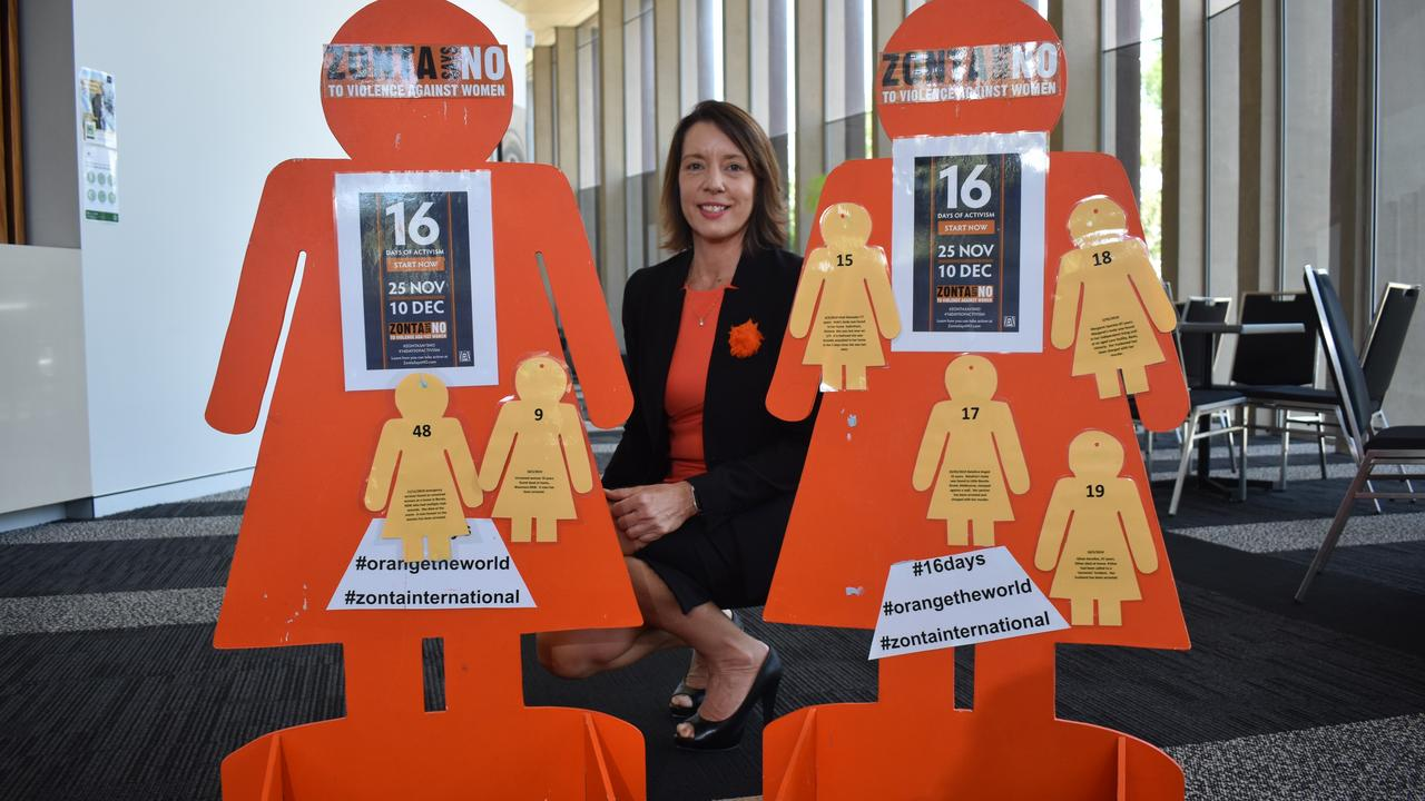 Councillor Belinda Hassan said Mackay Regional Council and the Zonta Club of Mackay had set up orange silhouettes as part of a United Nations campaign to address gender-based violence. Picture: Zizi Averill