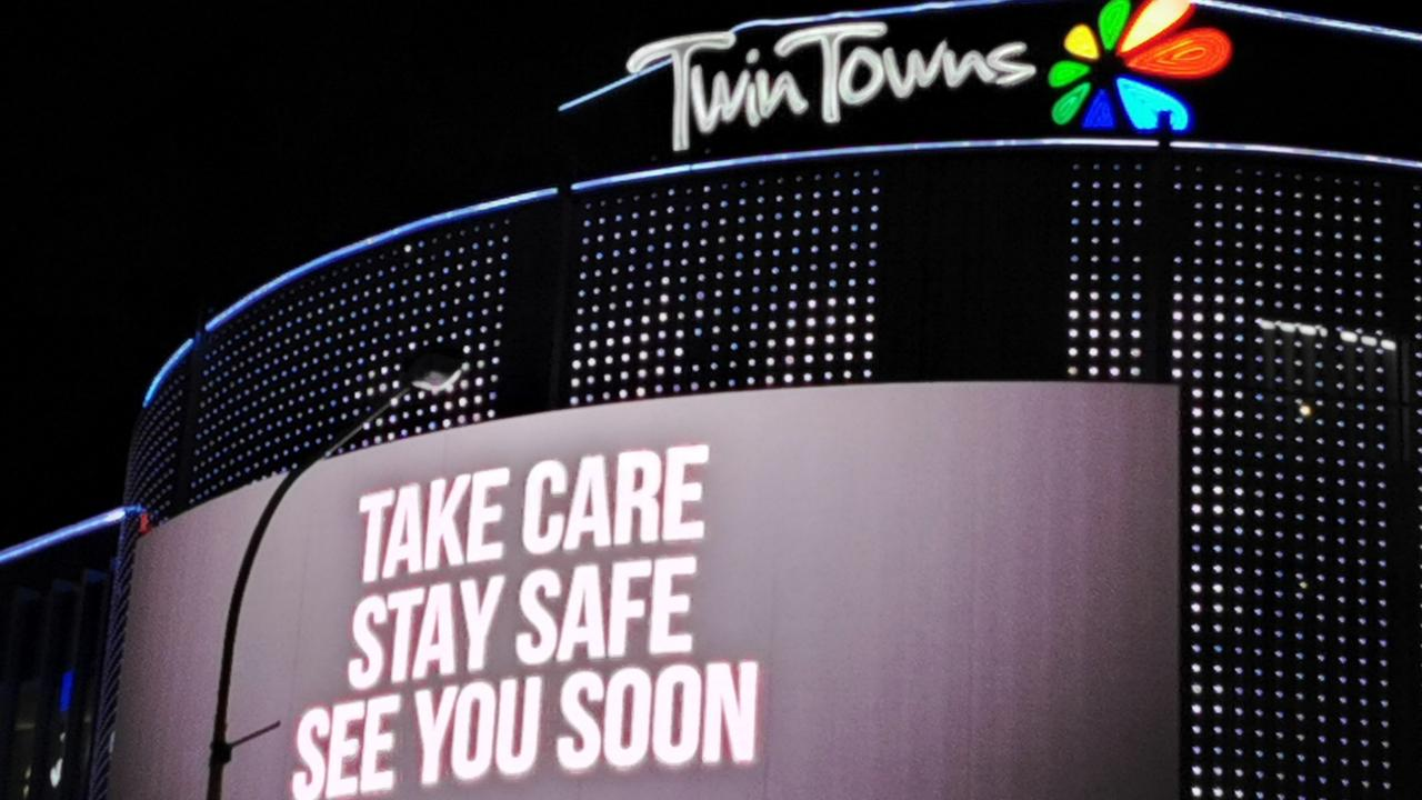 The Twin Towns club billboard message was so touching, it's close to the heart because of COVID-19. Photo: Cecilia Morey, Tweed Heads.