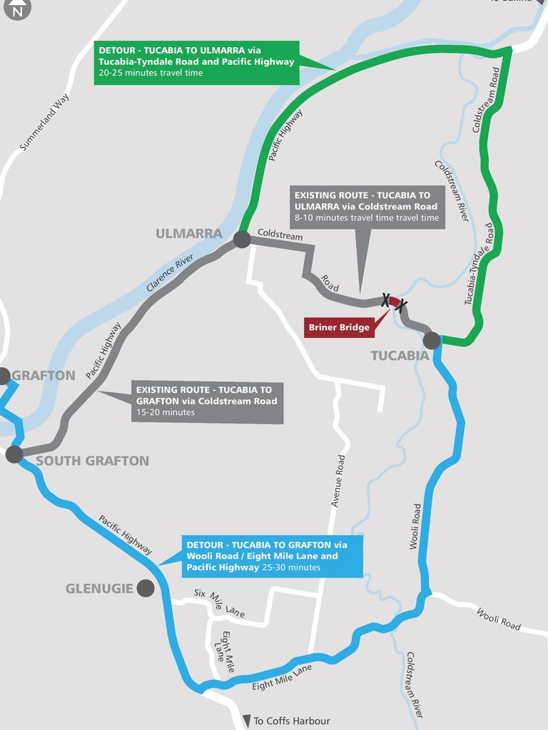 Motorists are advised of changed traffic conditions this weekend on the temporary bridge over the Coldstream River between Ulmarra and Tucabia as part of the Briner Bridge upgrade.