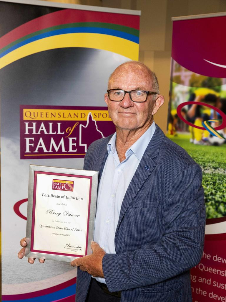 Barry Dancer is inducted into the Queensland Sport Hall of Fame. Picture: Richard Walker