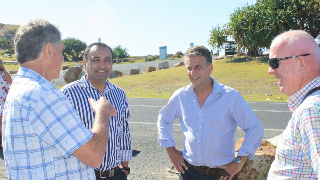 Coffs Harbour MP Gurmesh Singh and Transport Minister Andrew Constance with Coffs Harbour Regional Boat Ramp Precinct Enhancement Committee chair John Lawler and deputy chair Geoff Parker.