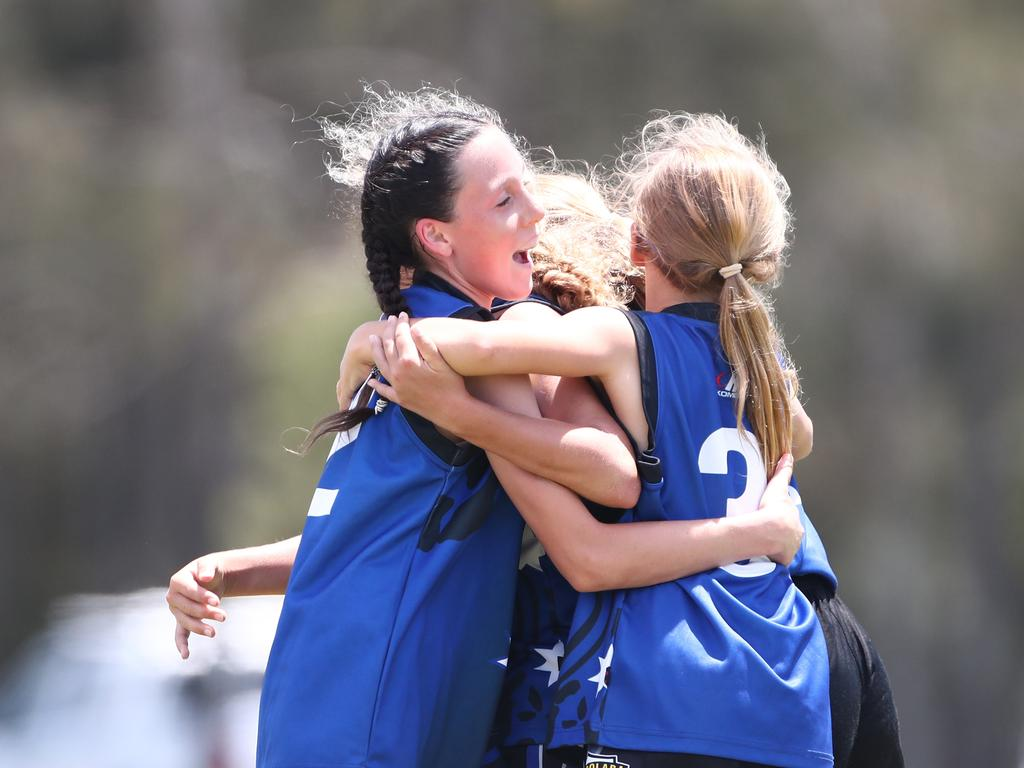 Mooloolaba primary girls won the AFLQ Schools Cup grand final over Oakleigh. Picture: Jason O'Brien AFLQ