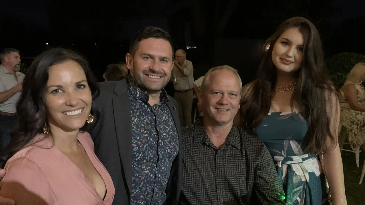 Keryn Angle, Pete Angle, Warren Polley and Isabella Polley celebrate
