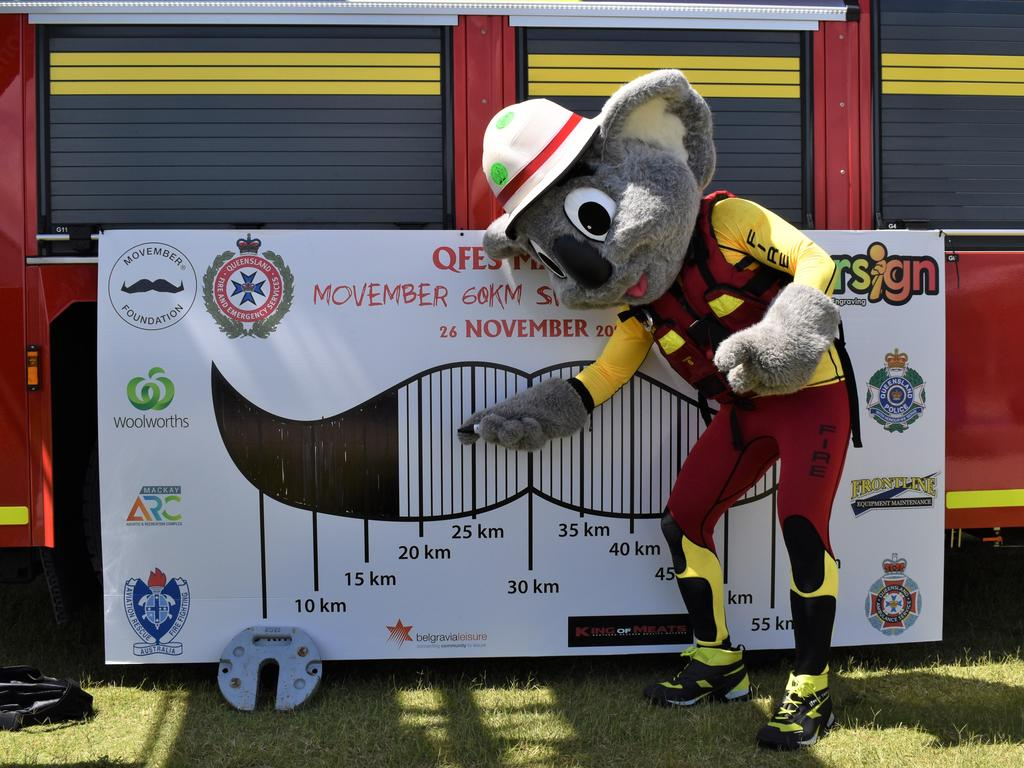Mascot Blazer updating the goal board at the QFES's Movember fundraiser at the Mackay Aquatic and Recreation Centre, November 26, 2020. Picture: Heidi Petith
