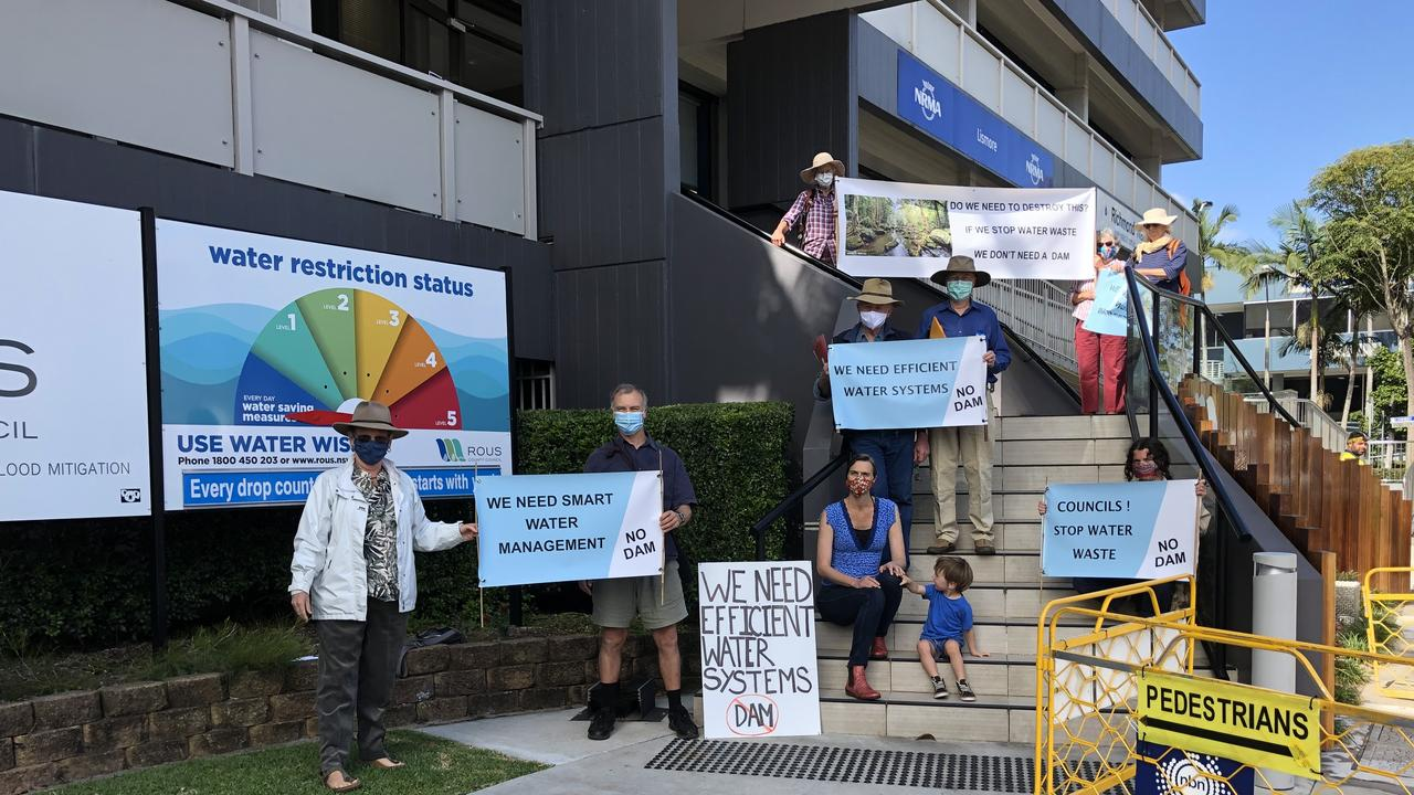 NO DAM: Water Northern Rivers alliance presented hundreds of submissions objecting to the Dunoon dam to Rous County Council on September 8, 2020. Photo: Alison Paterson