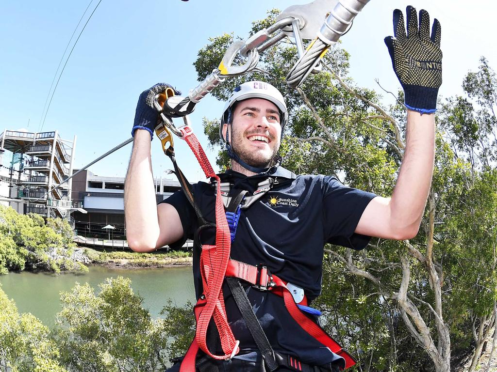 Sunshine Coast Daily journalist Matty Holdsworth tests out Sunshine Plaza's new high ropes course, which opens on Friday morning. Picture: Patrick Woods.