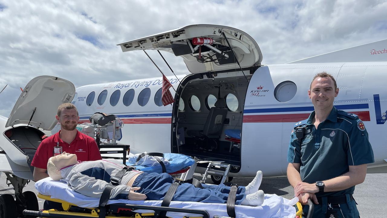 RFDS Flight Nurse Clayton Judd and QAS acting Officer in Charge Geebung Station Alex Meredith. Photo/Contributed