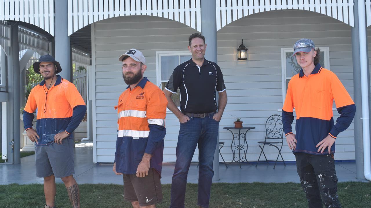Apprentice Rimoni Losipo, supervisor Clint Halliday, Apprenticeships Queensland general manager Paul Hillberg and apprentice Finn Wilson.