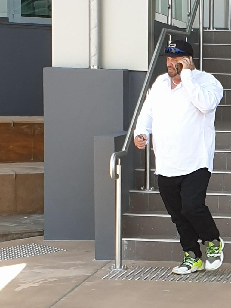 Alleged attempted murder victim Raymond Jarvis leaving the Rockhampton courthouse during the lunchbreak on day one of the trial of his accused attacker Daniel John Shields.
