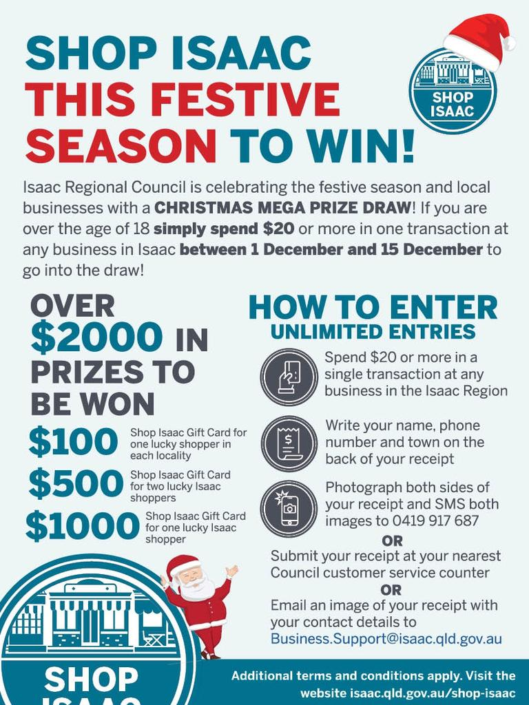 To enter the draw, the Isaac Regional Council encourages shoppers to send an image of their receipt. Picture: Contributed