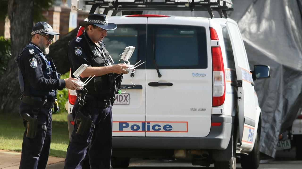 Police about to launch a drone from the crime scene of the murder of popular doctor Luping Zeng at MacGregor. AAP Image/Richard Waugh