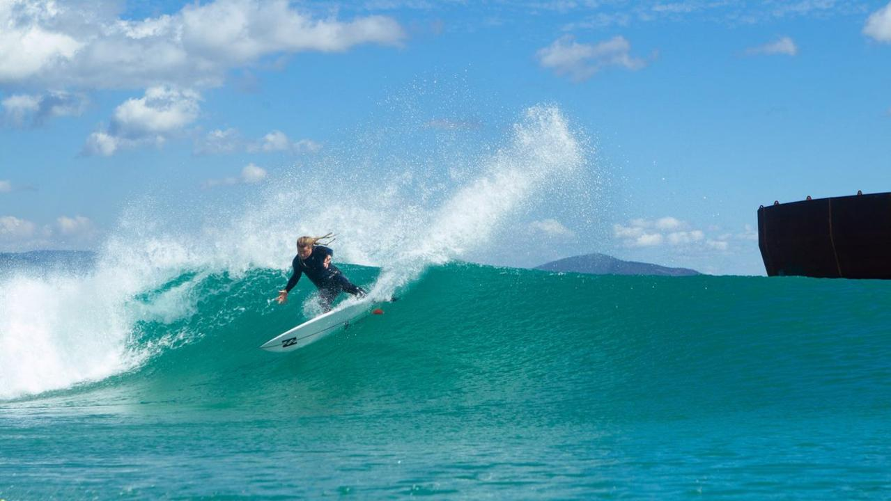 Mark 'Occy' Occhilupo carves up one of the breaks that was named after him at Surf Lakes.