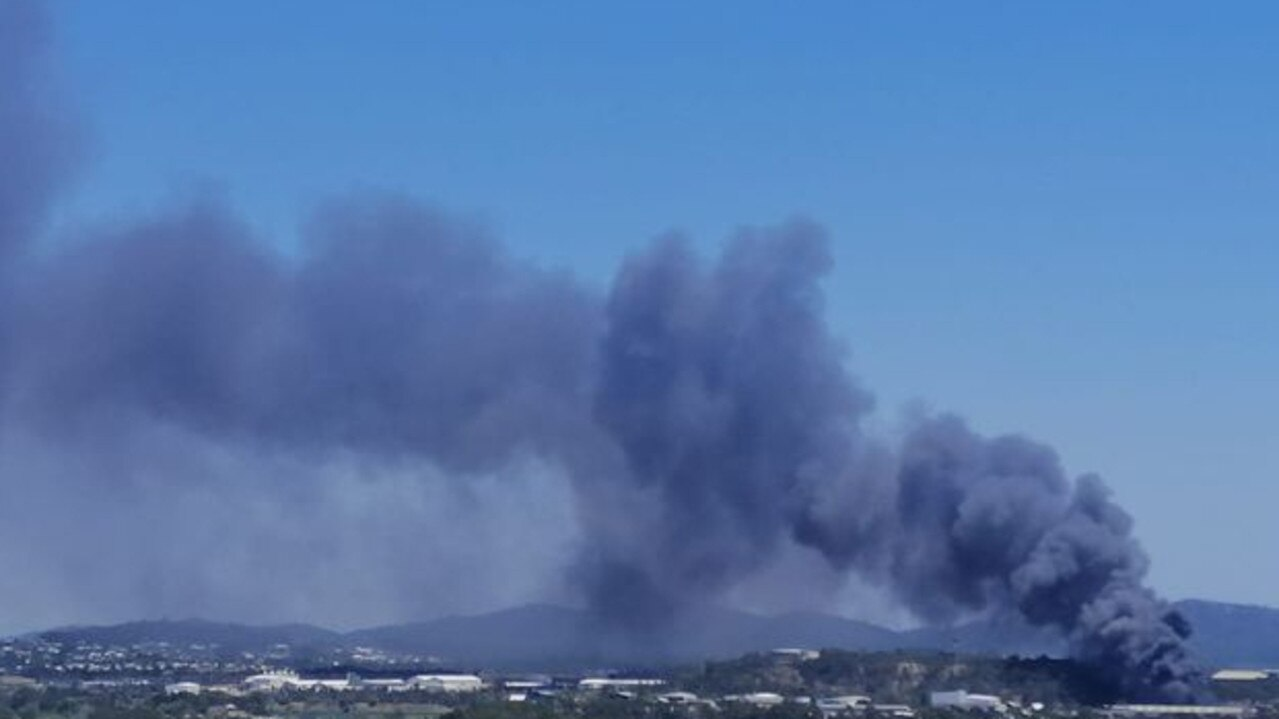 The smoke plume from the fire in Callemondah on October 9. Picture: Rico Hahne